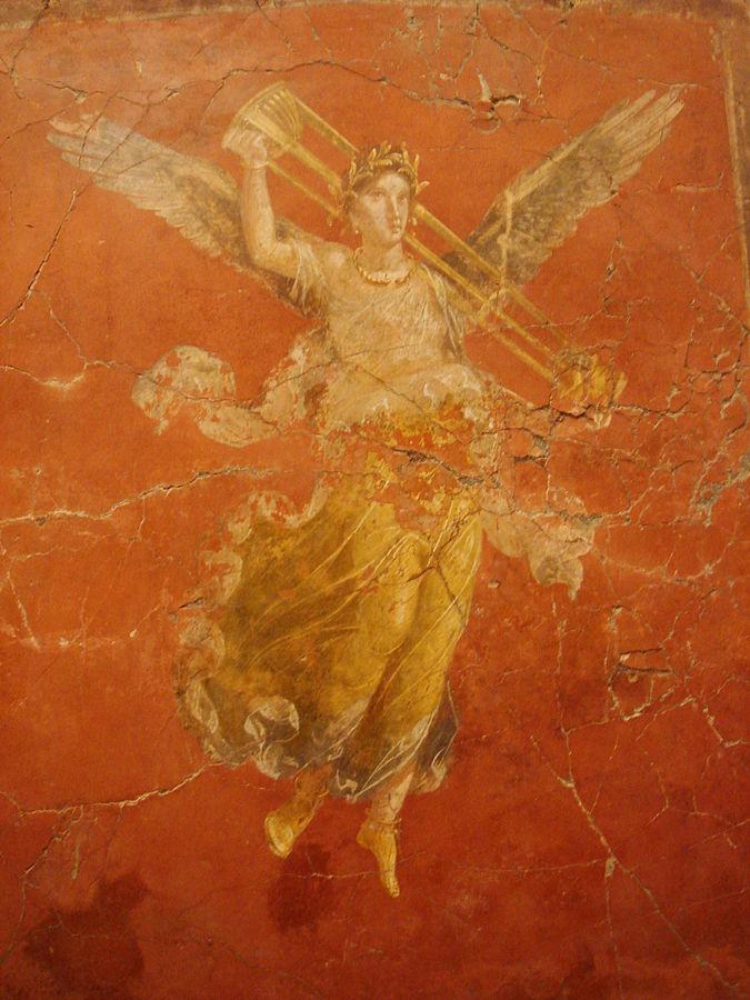 Tripod of Victory 675px-Affresco_romano_-_Pompei_-_Casa_dei_triclini_-_triclinio_c_seconda_vittoria_alata